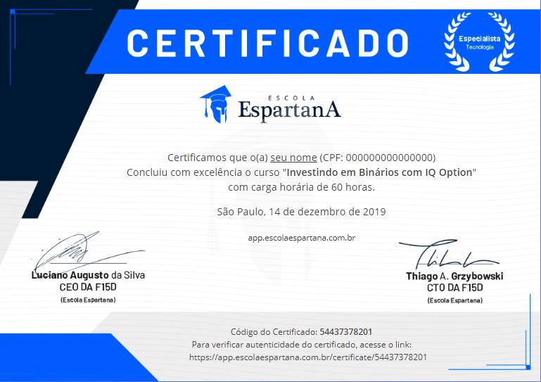 certificado - R13 Cursos Flix - Minha Escola Flix - Escola Espartana